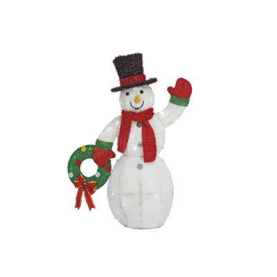 cool white led snowman with wreath - Cool White Outdoor Christmas Decorations