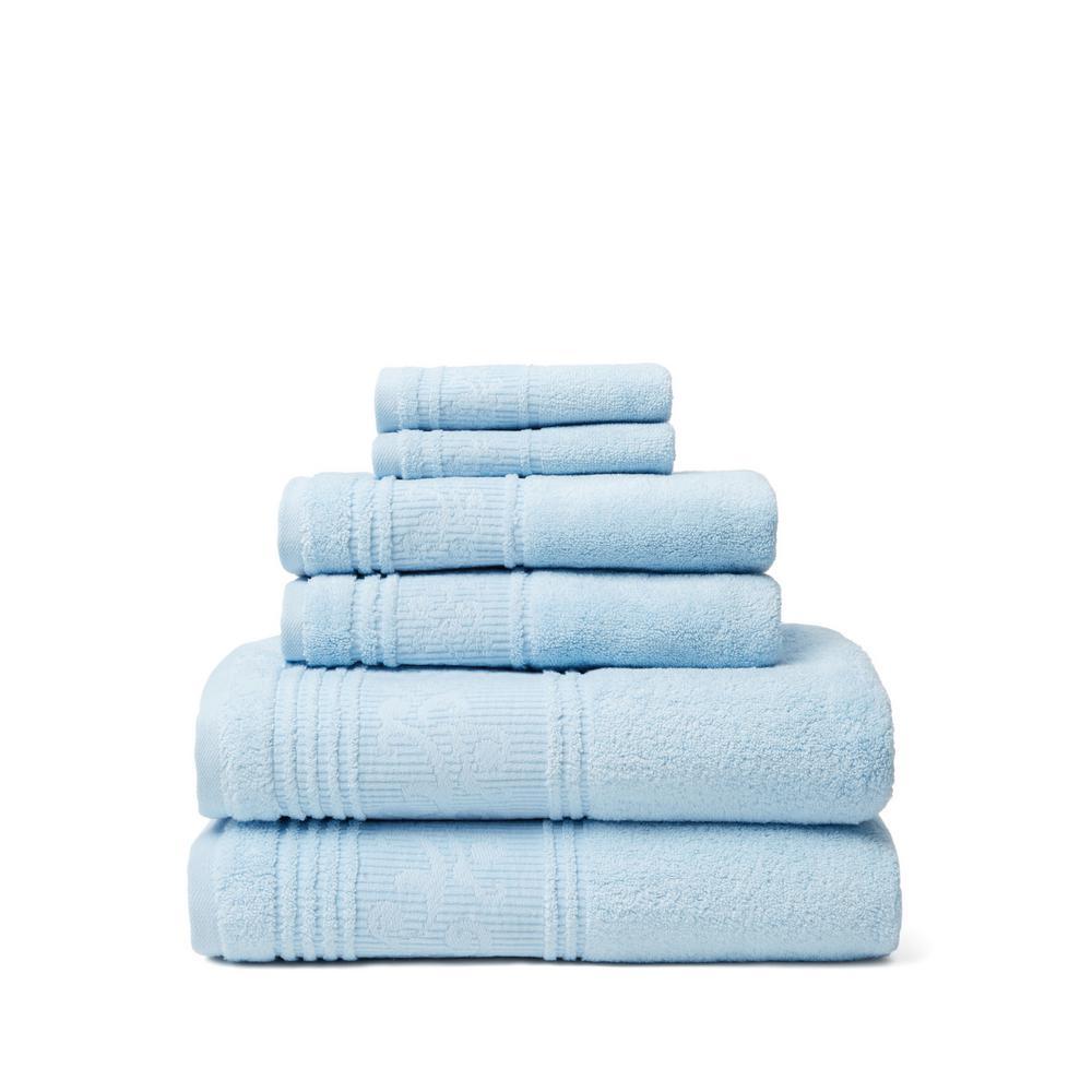 Leila 6-Piece 100% Turkish Cotton Bath Towel Set in Blue