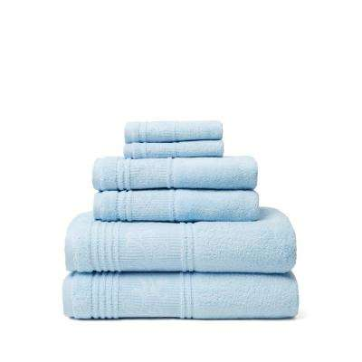 Leila 6-Piece 100% Turkish Cotton Bath Towel Set in Blue