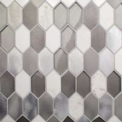 Fortis Aura 11.78 in. x 10.87 in. x 8 mm Marble Metal Glass Wall Mosaic Tile