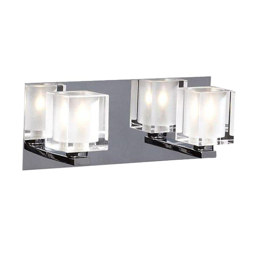 PLC Lighting 2-Light Polished Chrome Bath Vanity Light with Acid Frost Glass
