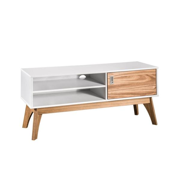 Manhattan Comfort Jackie 43.3 in. White and Natural Wood TV Stand