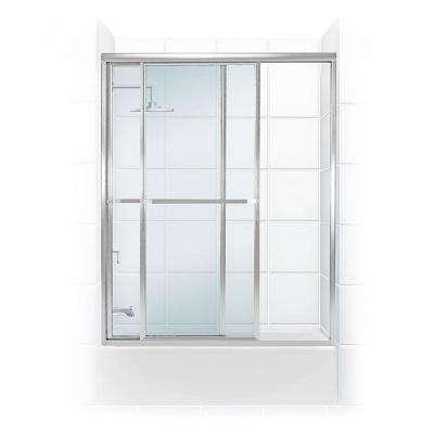 Paragon Series 52 in. x 58 in. Framed Sliding Tub Door with Towel Bar in Chrome and Clear Glass