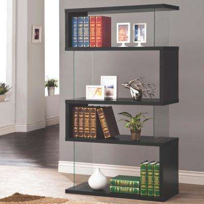 Lorenz Glass and Black Bookcase