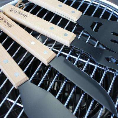 CooknCo 4-Piece BBQ Set Wood Handle