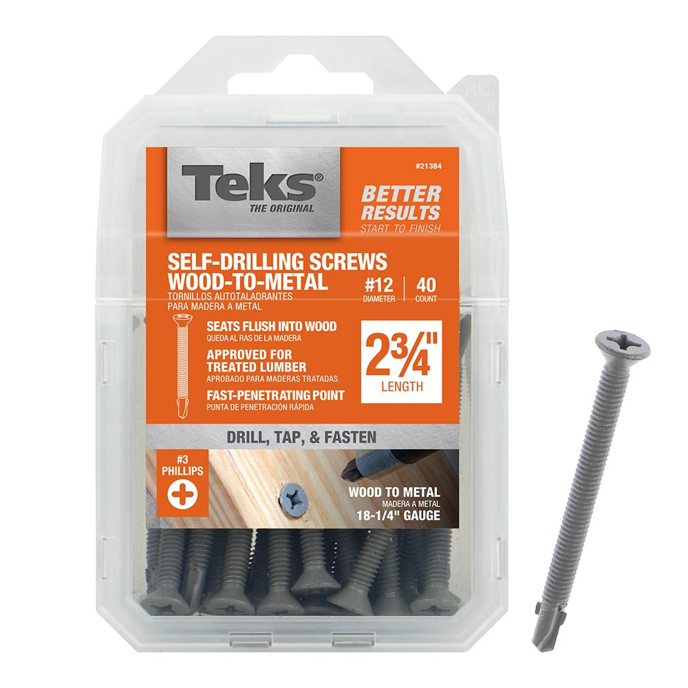 ITW BRANDS Teks #12 x 2-3//4-Inch Self-Tapping Phillips Wing-Head Screws 40-Pack