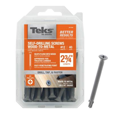 Pack of 100 Zinc Plated Finish Flat Head 2 Length Phillips Drive #10-16 Threads Steel Self-Drilling Screw
