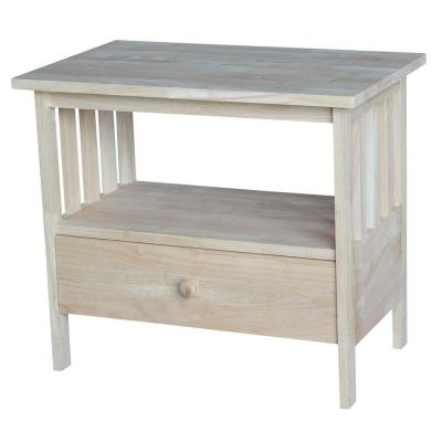 Mission 27 in. Unfinished Wood TV Stand with 1 Drawer Fits TVs Up to 32 in. with Cable Management