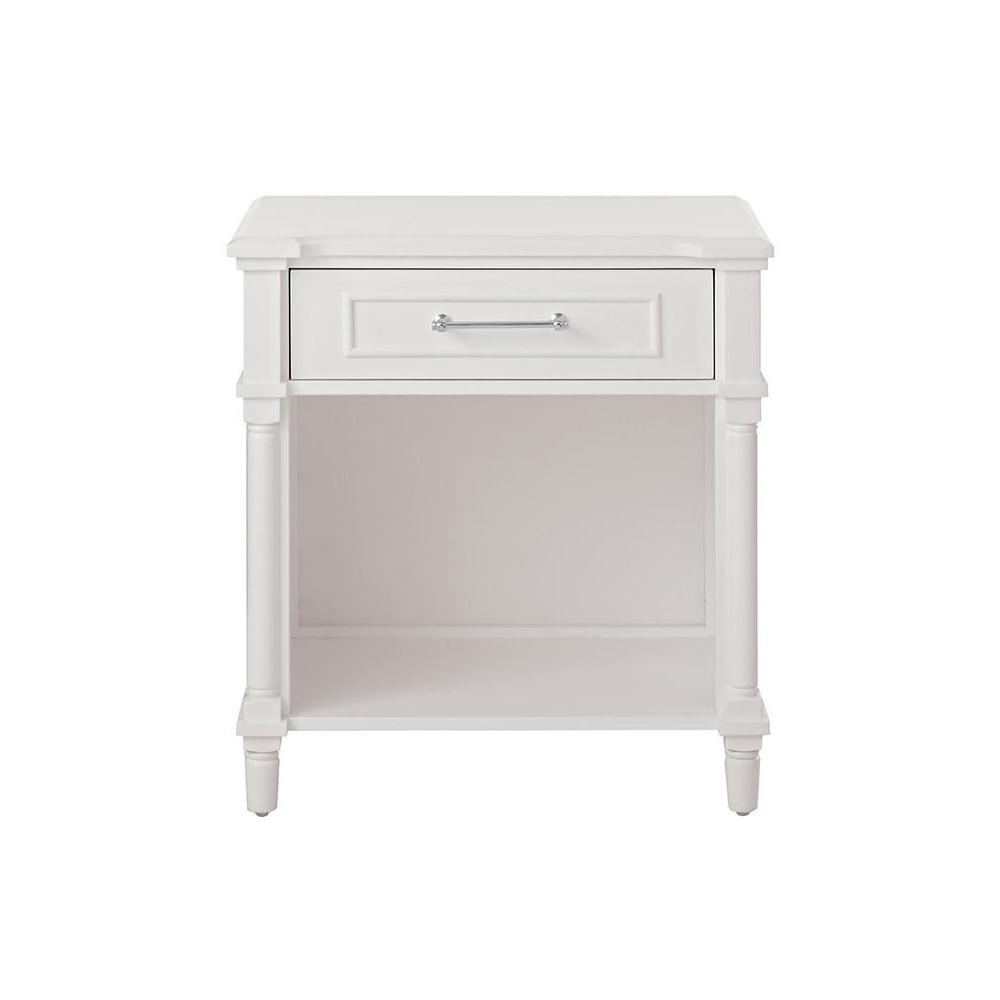 Aberdeen 1-Drawer White Nightstand