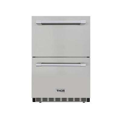 4.7 cu. ft. Under Counter Double Drawer Refrigerator in Stainless Steel