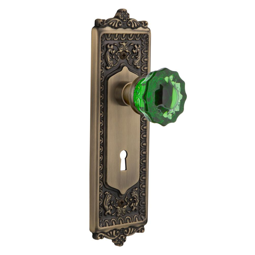 Egg and Dart Plate Interior Mortise Crystal Emerald Glass Door Knob
