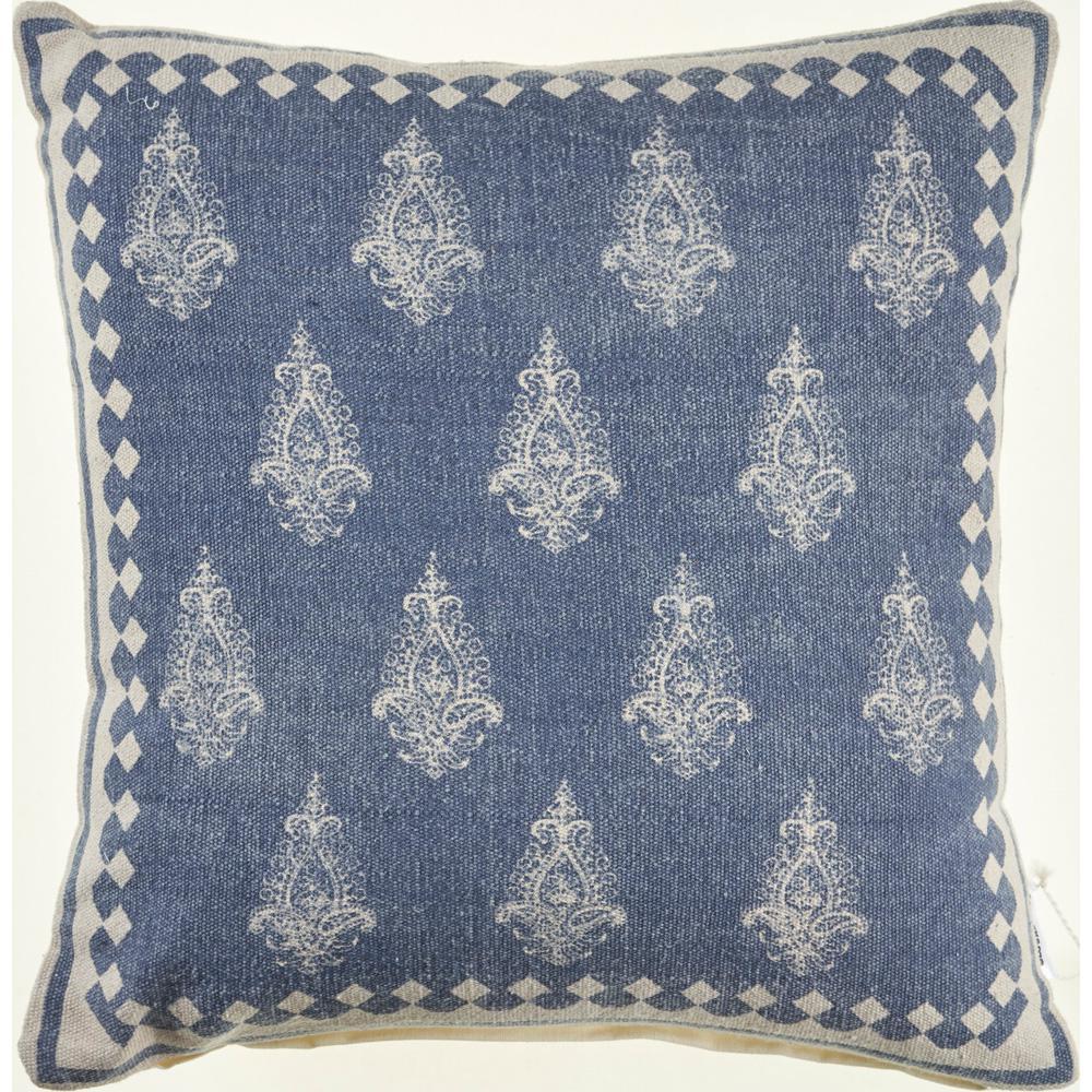 Classic 20 in. x 20 in. Indigo/Cream Damask Persian Motif Throw Pillow