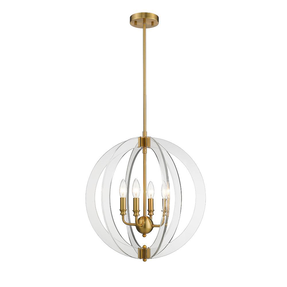 Isabelle 4-Light Plated Gold Brushed Gold Pendant