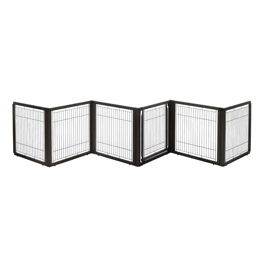 31.5 in. x 135.8 in. 6-Panel Wood Convertible Elite Pet Gate in Black