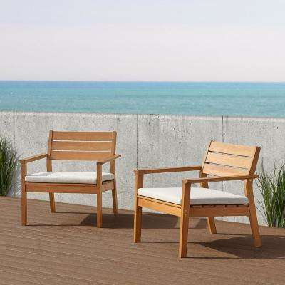 Hale Solid Eucalyptus Wood Outdoor Lounge Chair with Taupe Cushion (2-Pack)