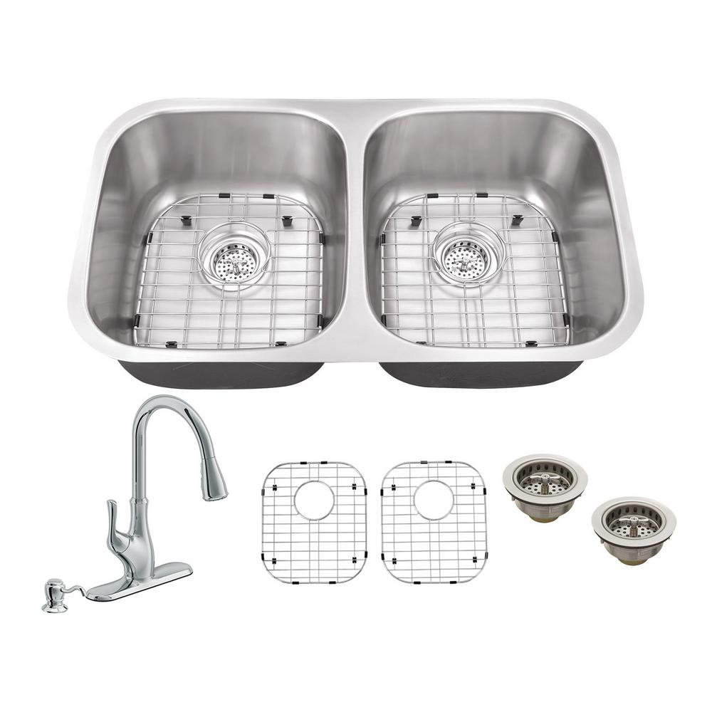 All-in-One Undermount Stainless Steel (Silver) 32.25 in. 50/50 Double Bowl Kitchen Sink with Polished Chrome Kitchen Faucet