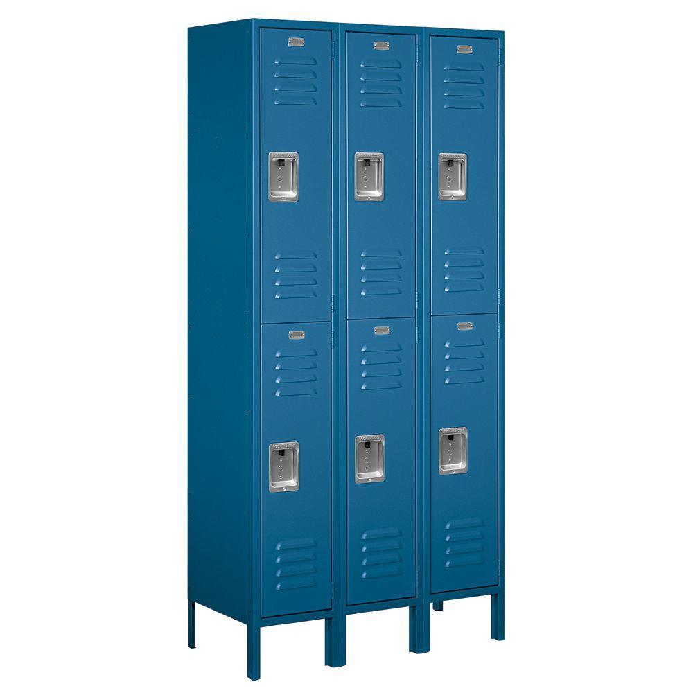 62000 Series 36 in. W x 78 in. H x 15 in. D 2-Tier Metal Locker Unassembled in Blue