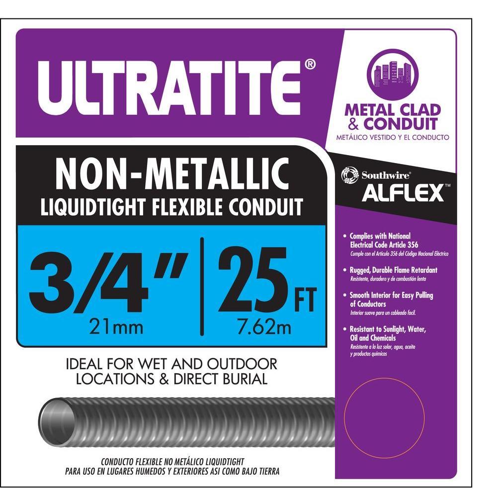 3/4 in. x 25 ft. Ultratite Liquidtight Flexible Non-Metallic PVC Conduit