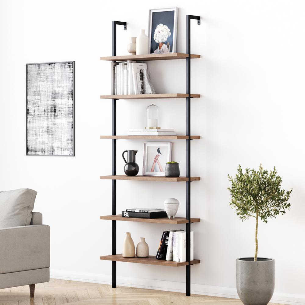 Theo 85 in. Matte Black Reclaimed Oak Wood 6-Shelf Wall Mount Ladder Bookcase with Matte Black Metal Frame
