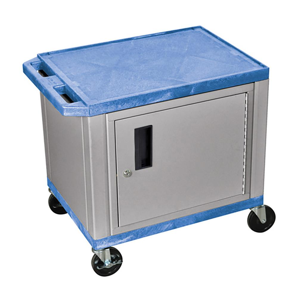 WT 26 in. A/V Cart with Nickel ColoRed Cabinet, Blue Shelves