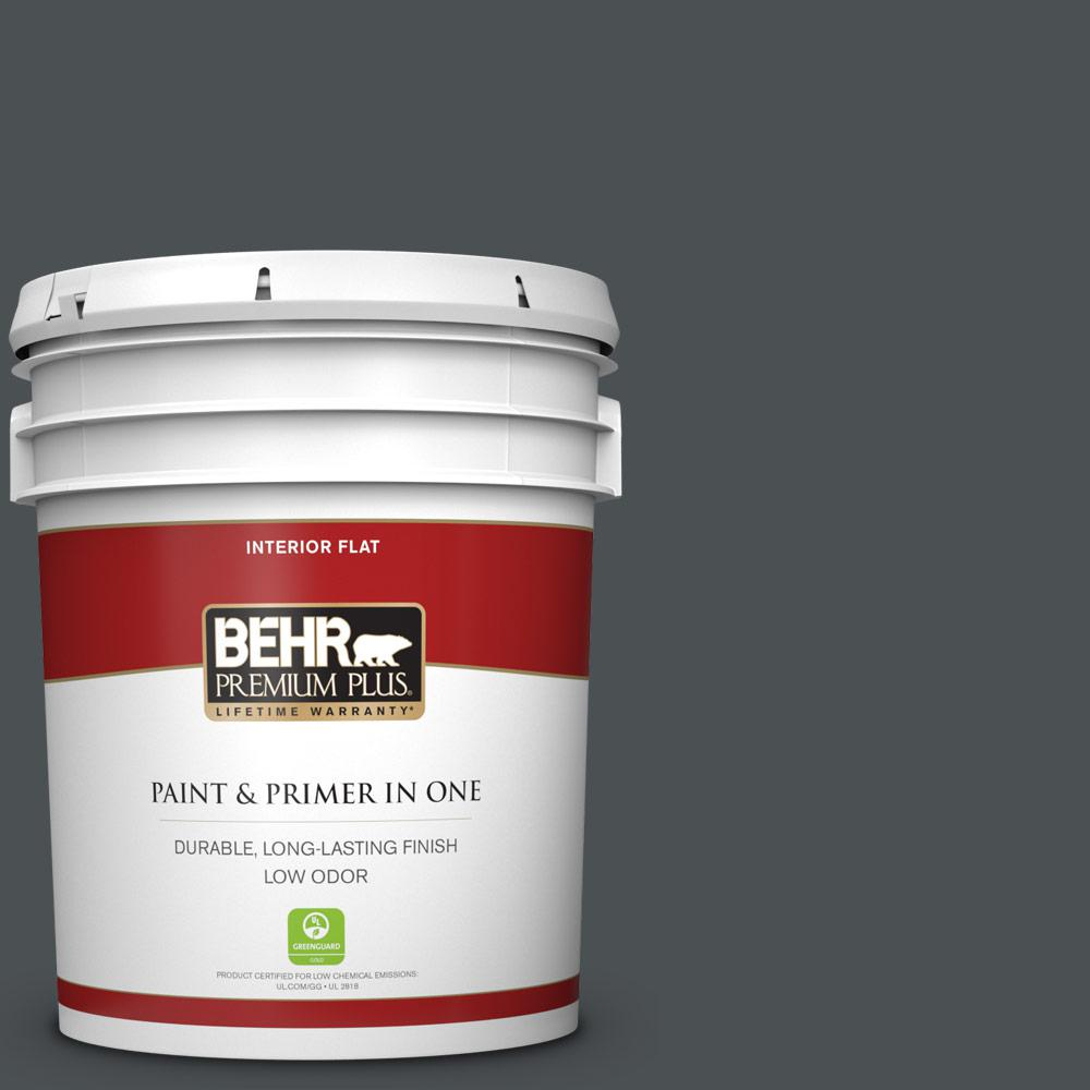 Behr Premium Plus 5 Gal Ppu26 01 Satin Black Flat Low Odor Interior Paint And Primer In One 130005 The Home Depot