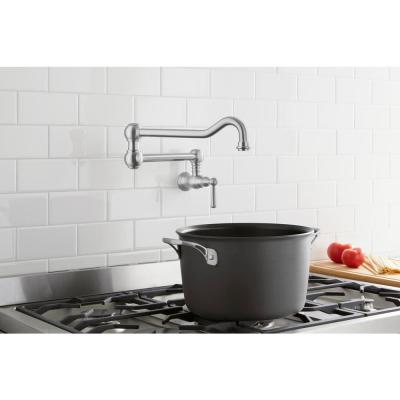 Lyndhurst Single-Handle Wall-Mount Pot Filler Faucet in Stainless Steel