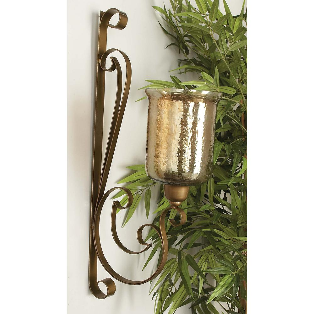 30 in. x 13 in. Traditional Wrought Iron and Glass Wall