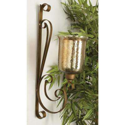 30 in. x 13 in. Traditional Wrought Iron and Glass Wall Candle Sconce
