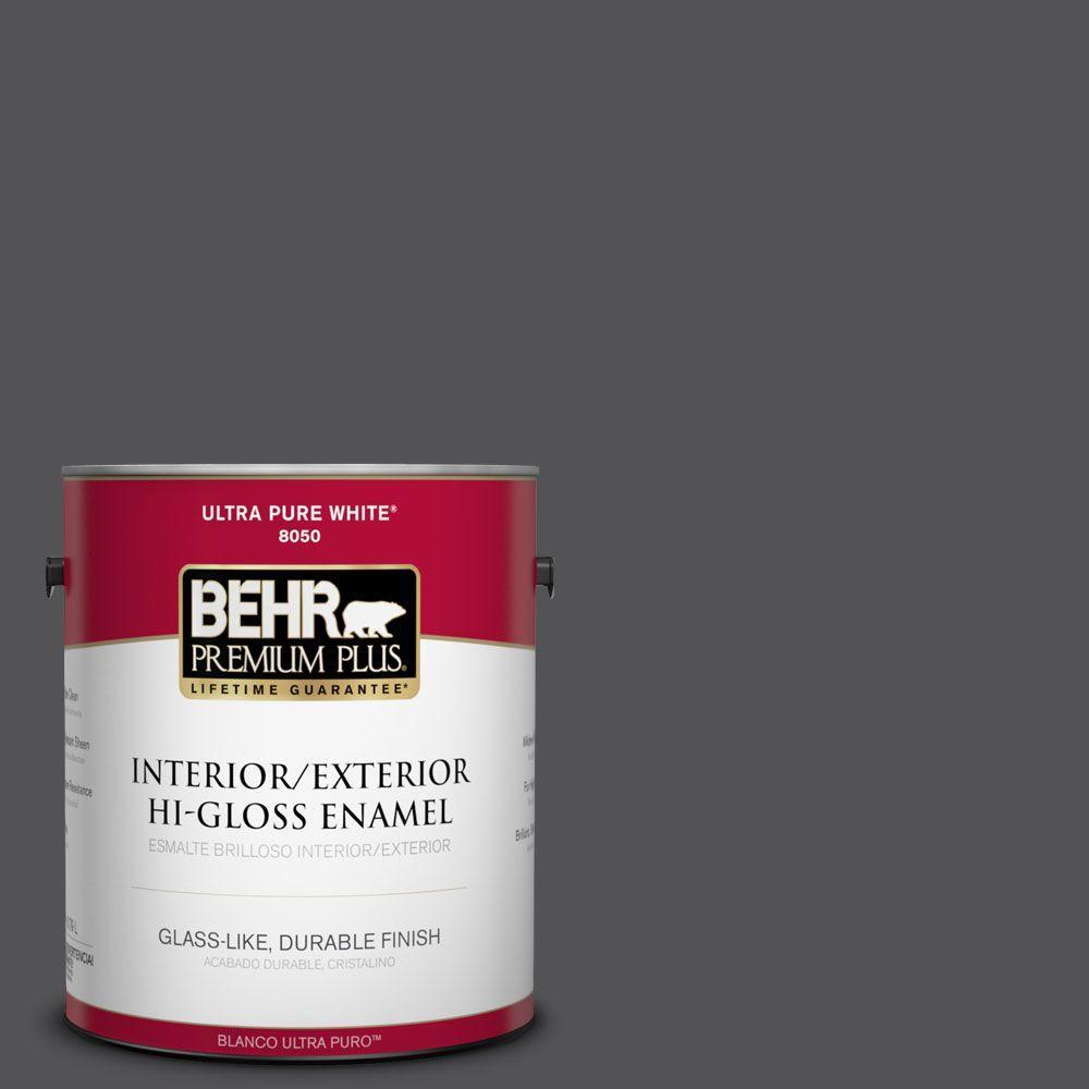 BEHR Premium Plus 1-gal. #BXC-30 Black Space Hi-Gloss Enamel Interior/Exterior Paint