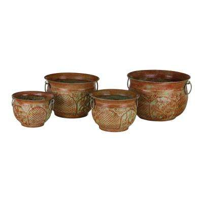 Round Metal Planters - Green Moroccan (Set of 4)
