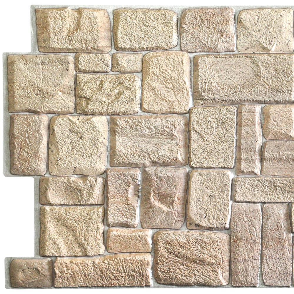 3D Falkirk Retro 10/1000 in. x 39 in. x 20 in. Beige Faux Limestone PVC Wall Panel