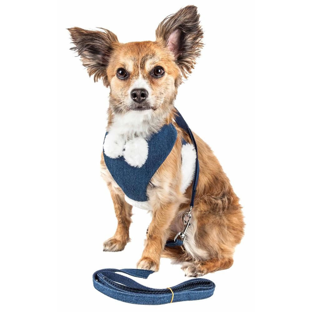 53e5a0b9c781 PET LIFE Luxe Pom Draper Medium 2-in-1 Adjustable Dog Harness Leash with  Pom-Pom Bowtie