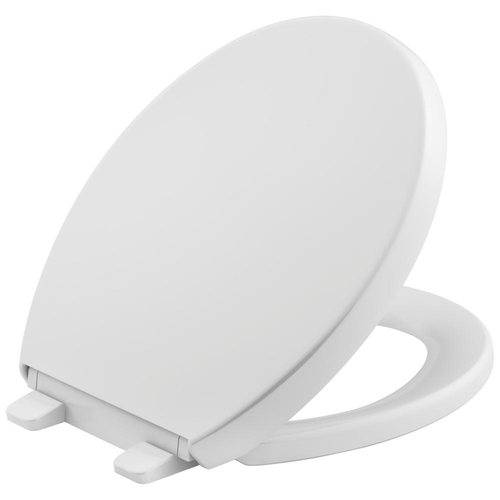 Reveal Quiet-Close Round Closed Front Toilet Seat with Grip-Tight Bumpers in