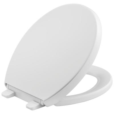 Reveal Quiet-Close Round Closed Front Toilet Seat with Grip-Tight Bumpers in White