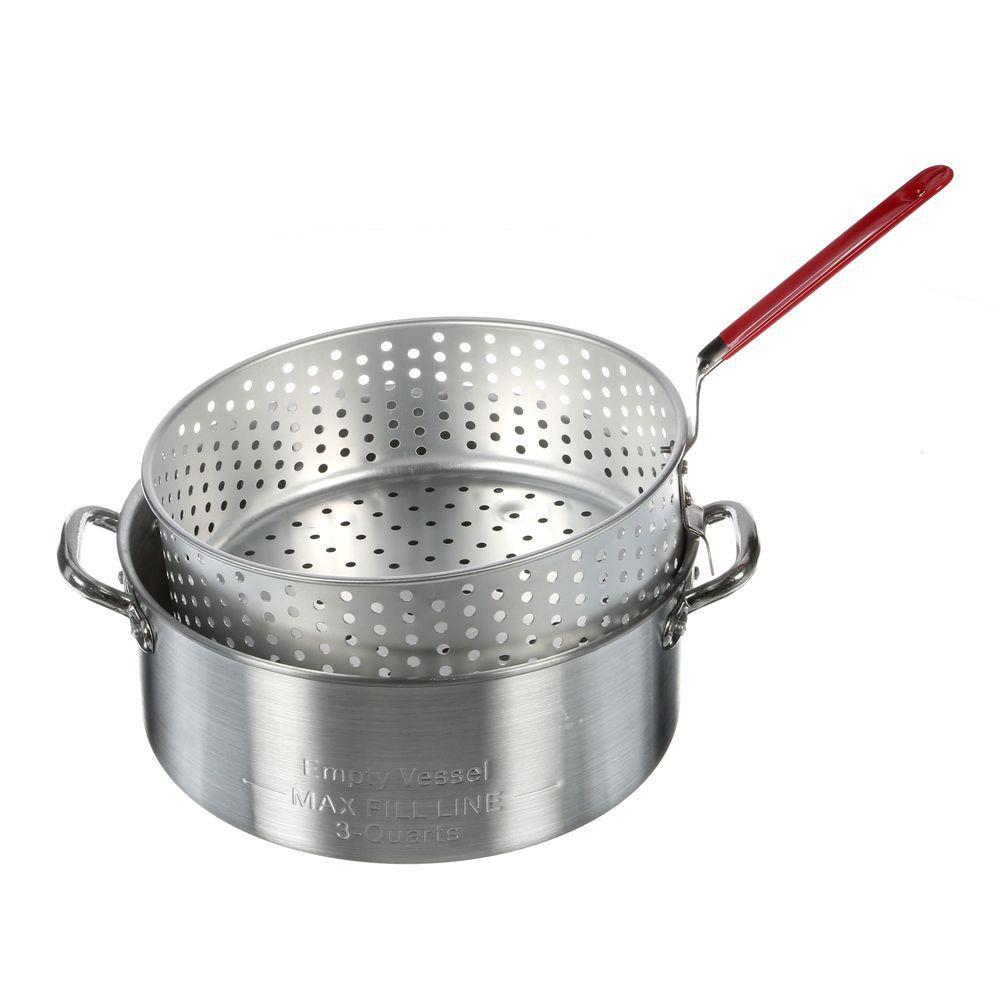 Aluminum fry pot basket 10 qt deep fryer home kitchen for Fish fryer pot