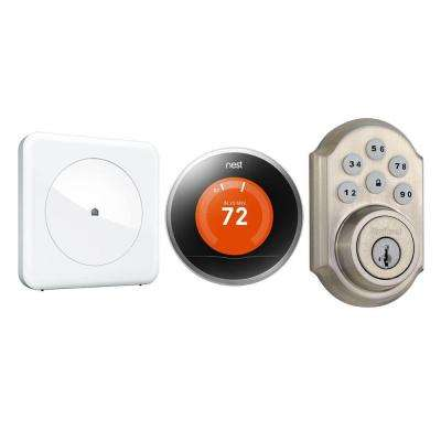 Smart Home Peace of Mind Kit with Wink Hub, Kwikset SmartCode 910 Deadbolt and Nest Learning Thermostat