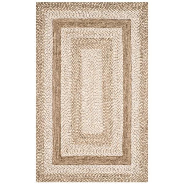 Safavieh Natural Fiber Gray Ivory 5 Ft X 8 Ft Indoor Area Rug Nf884f 5 The Home Depot