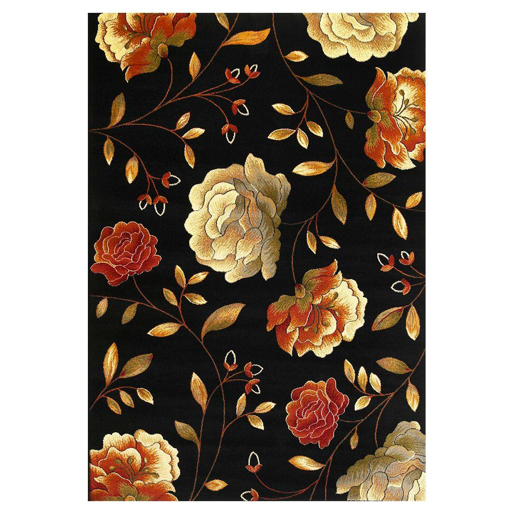 Kas Rugs Roses to Riches Black 3 ft. 11 in. x 5 ft. 3 in. Area Rug