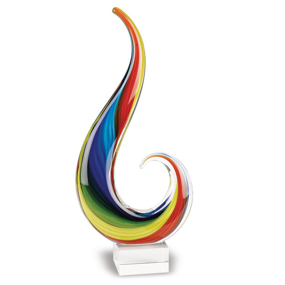 12 in. Rainbow Note Murano Style Centerpiece