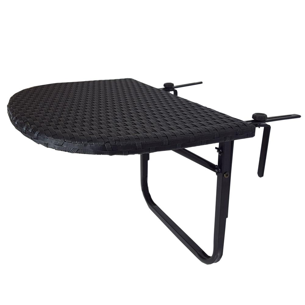 Black Metal Outdoor Side Table With Adjule Clamps