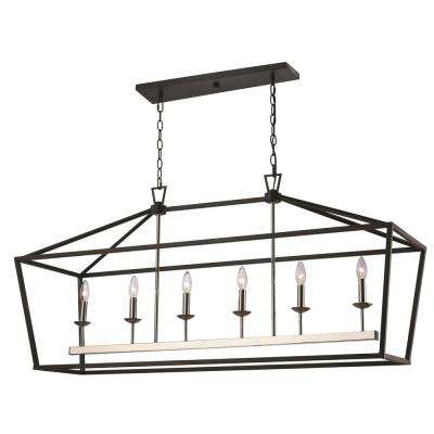 Lacey 6-Light Polished Chrome and Black Pendant