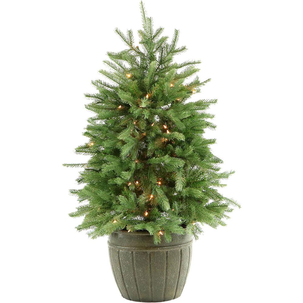 Potted Christmas Tree.Fraser Hill Farm 4 Ft Pre Lit Potted Pine Artificial Christmas Tree With 100 Clear Lights