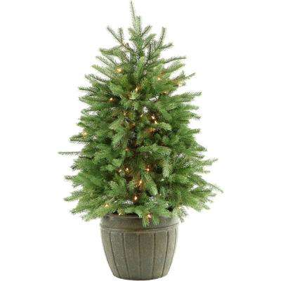 4 ft. Pre-Lit Potted Pine Artificial Christmas Tree with 100 Clear Lights