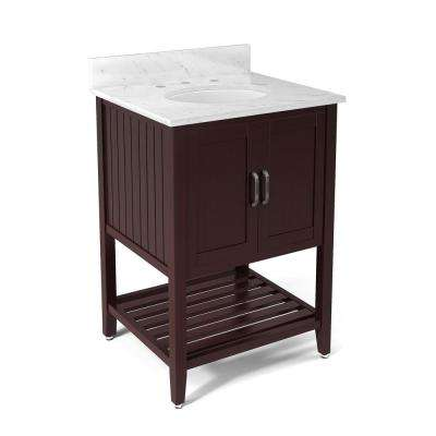 Bennett 25 in. W x 22 in. D Vanity in Espresso with Marble Vanity Top in White with White Basin