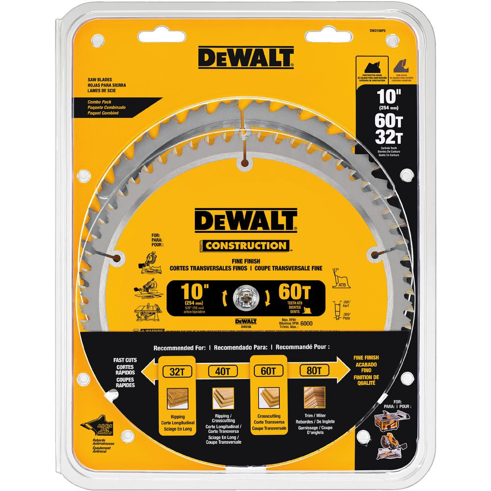 Dewalt 10 in circular saw blade assortment 2 pack dw3106p5 the dewalt 10 in circular saw blade assortment 2 pack greentooth Choice Image