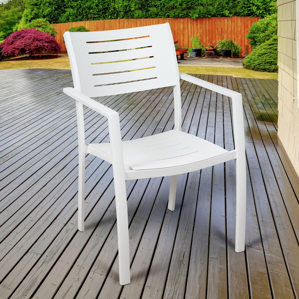 Atlantic Jordan White Stackable Aluminum Outdoor Dining Chair (4 Pack)
