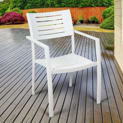 Jordan White Stackable Aluminum Outdoor Dining Chair (4-Pack)
