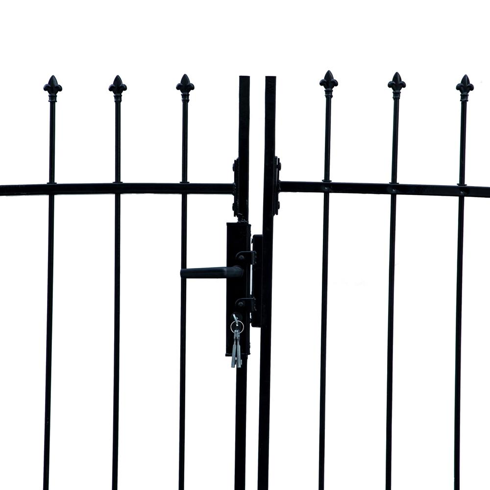 ALEKO Athens Style 13 ft  x 5 ft  Black Steel DIY Dual Swing Driveway Fence  Gate