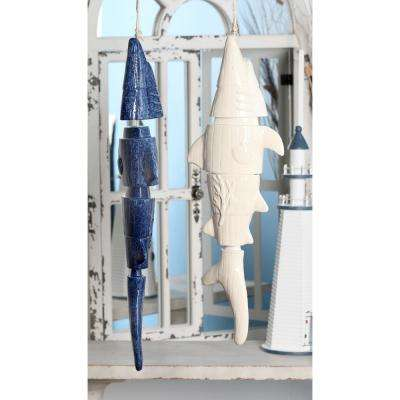 Navy Blue and White Ceramic Segmented Shark Wind Chimes (Set of 2)