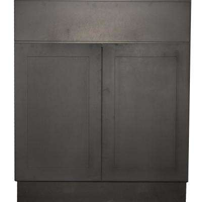Black Satin Shaker II - Ready to Assemble 36x34.5x24 in. 2 Door 1 Drawer Sink Base Cabinet